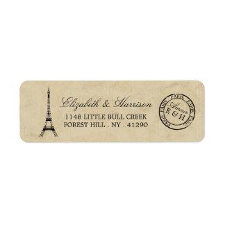 Casamento do carimbo postal de Paris da torre Etiqueta Endereço De Retorno