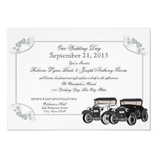 Casamento do carro antigo convite 12.7 x 17.78cm