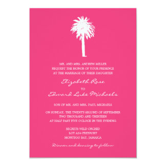 Casamento do destino da palmeira do rosa quente convite 12.7 x 17.78cm