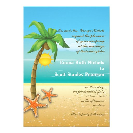 Casamento do destino da praia da palmeira & da est convite personalizado