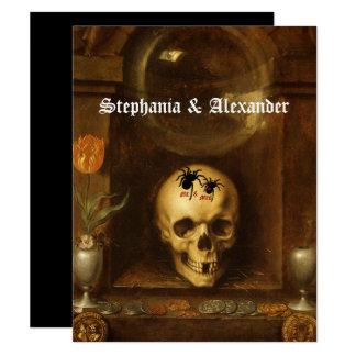 Casamento do Dia das Bruxas, gótico, crânio, Convite 10.79 X 13.97cm