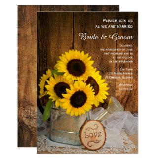 Casamento do girassol rústico e da lata molhando convite 12.7 x 17.78cm