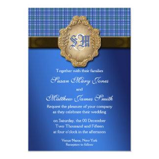 Casamento do laço do ouro do marrom azul convites