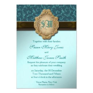 Casamento do laço do ouro do marrom azul convite 12.7 x 17.78cm