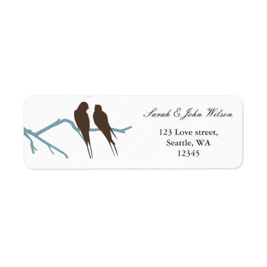 casamento do mocha dos lovebirds, etiqueta de etiqueta endereço de retorno
