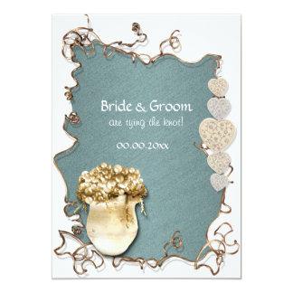 Casamento do noivado do país do marrom azul convite 12.7 x 17.78cm