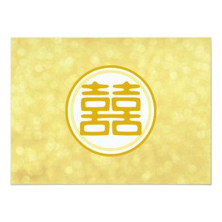 Casamento do ouro • Felicidade dobro • Redondo Convite 13.97 X 19.05cm