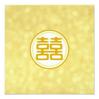 Casamento do ouro • Felicidade dobro • Redondo Convite Quadrado 13.35 X 13.35cm