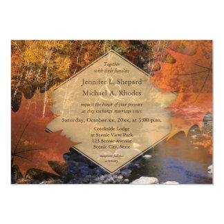 Casamento do outono da folha de bordo das madeiras convite 12.7 x 17.78cm