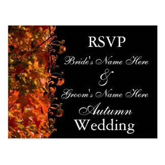 Casamento do outono do convite RSVP do casamento Cartão Postal