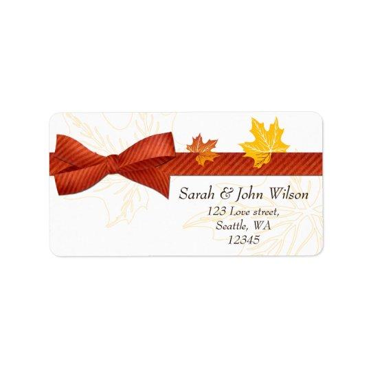casamento do outono, etiqueta de endereço do