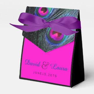 Casamento do pavão do rosa azul e quente da caixinha de lembrancinhas para festas