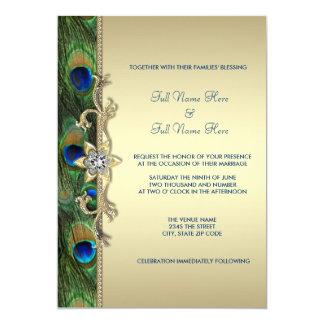 Casamento do pavão do verde esmeralda e do ouro convite 12.7 x 17.78cm