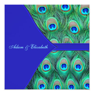Casamento do pavão dos azuis marinhos convite quadrado 13.35 x 13.35cm