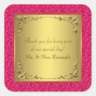 Casamento do rosa quente e do ouro adesivo quadrado