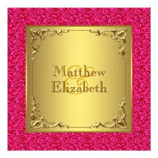 Casamento do rosa quente e do ouro convites