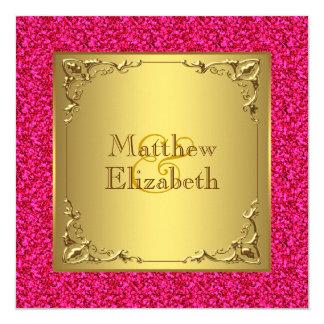 Casamento do rosa quente e do ouro convite quadrado 13.35 x 13.35cm