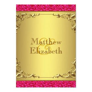 Casamento do rosa quente e do ouro convite 11.30 x 15.87cm