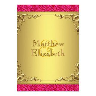 Casamento do rosa quente e do ouro convite 12.7 x 17.78cm