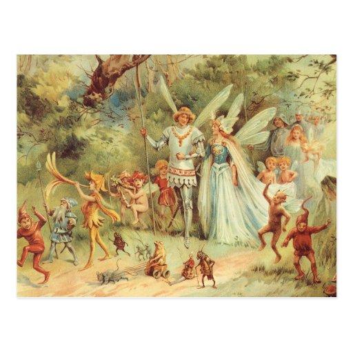 Casamento do vintage de Thumbelina e de príncipe Cartoes Postais