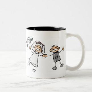 Casamento dos desenhos animados caneca dois tons