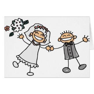 Casamento dos desenhos animados cartão comemorativo