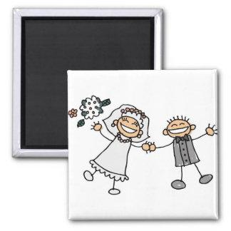 Casamento dos desenhos animados ímã quadrado