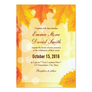 Casamento dourado do outono das folhas de bordo convite 12.7 x 17.78cm