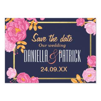 Casamento dourado do quadro do jardim floral convite 12.7 x 17.78cm