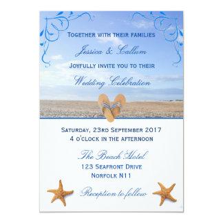 Casamento elegante da estrela do mar & de praia convite 12.7 x 17.78cm