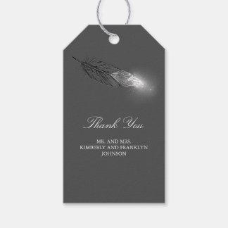 Casamento elegante da pena de prata do brilho etiqueta para presente