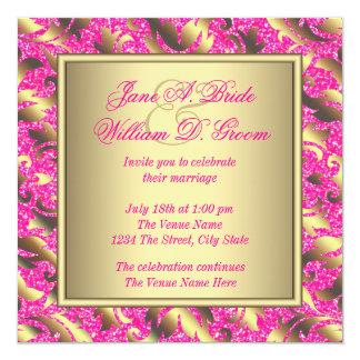 Casamento elegante do rosa quente e do ouro convite quadrado 13.35 x 13.35cm
