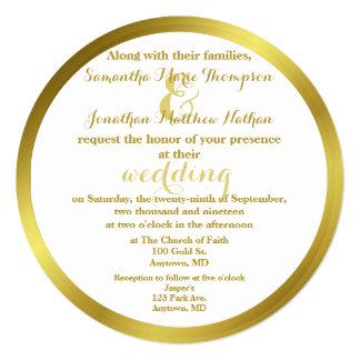 Casamento elegante moderno da folha de ouro convite quadrado 13.35 x 13.35cm