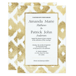 Casamento elegante moderno de Ikat do ouro branco Convite 12.7 X 17.78cm