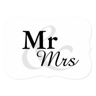 Casamento elegante simples da tipografia de Mr&Mrs Convite 12.7 X 17.78cm