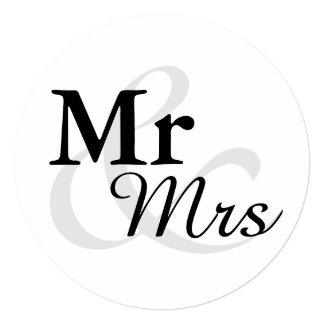 Casamento elegante simples da tipografia de Mr&Mrs Convite Quadrado 13.35 X 13.35cm