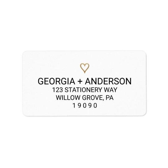Casamento elegante simples do coração do ouro etiqueta de endereço