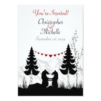 Casamento encantador do casal do urso da montanha convite 12.7 x 17.78cm