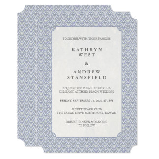 Casamento estilizado Lilac-Azul elegante do teste Convite 12.7 X 17.78cm