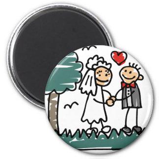 Casamento exterior fora do casamento do verde da ímã redondo 5.08cm