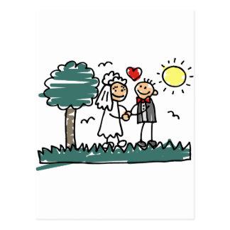 Casamento exterior fora do casamento do verde da n cartão postal