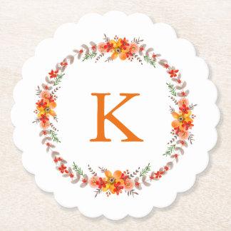Casamento floral alaranjado do monograma da porta-copo de papel