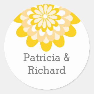 Casamento floral amarelo personalizado adesivo