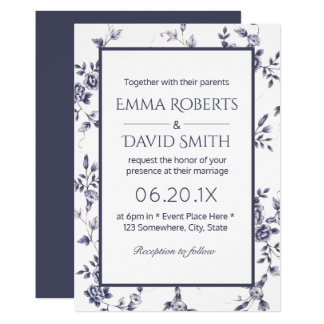 Casamento floral azul & branco do vintage da convite 12.7 x 17.78cm