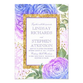 Casamento floral azul e roxo dos confetes do ouro convite 12.7 x 17.78cm