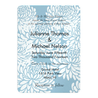 Casamento floral branco azul convite 12.7 x 17.78cm