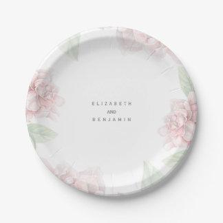 Casamento floral cor-de-rosa macio elegante do prato de papel