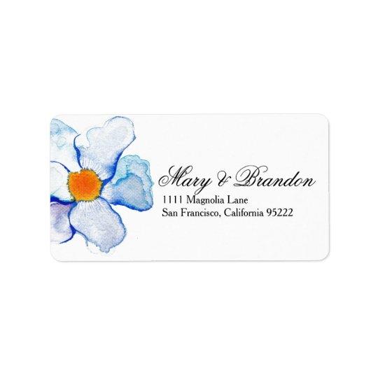 Casamento floral da aguarela do azul e da cerceta etiqueta de endereço