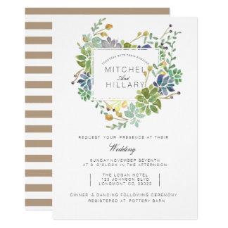 Casamento floral da aguarela do jardim | do convite 12.7 x 17.78cm
