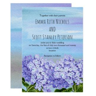 Casamento floral da aguarela roxa, azul dos convite 12.7 x 17.78cm